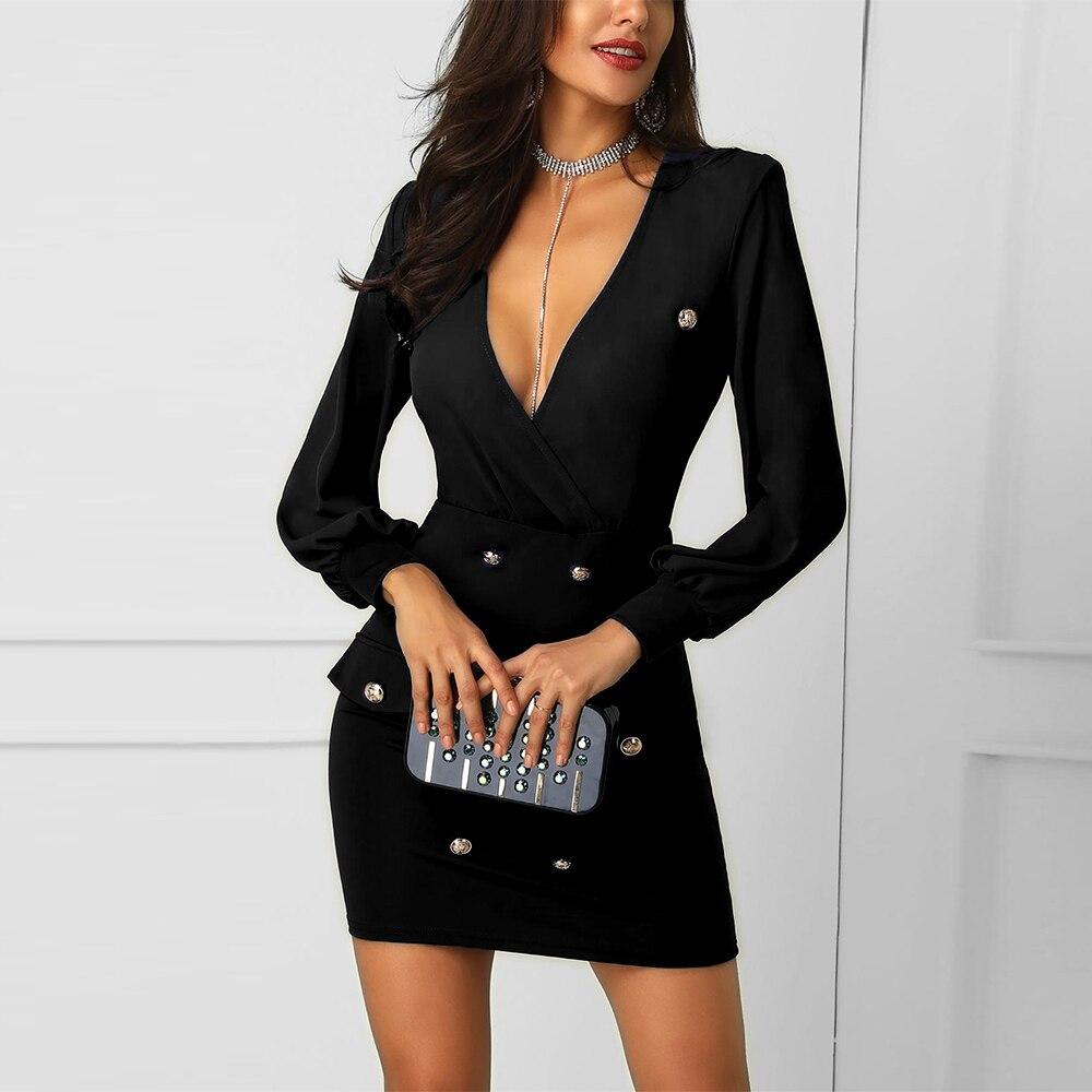 Женское платье-блейзер с глубоким v-образным вырезом, на пуговицах, с длинным рукавом, весна 2020, синий, черный, приталенный костюм, женское пл...
