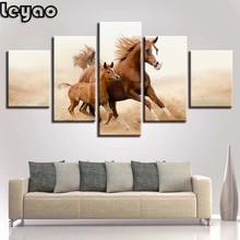 Running Horses 5 Piece animal, Multi Panel Diamond painting,diamond embroidery,square,round,crafts,diy.5d,diamond mosaic