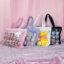 Bolso Ita de hombro transparente de Lolita japonesa, bolso de lona transparente de un solo lado, para Dango Badge Show ItaBag