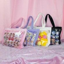 Ita torba japońska Lolita przezroczysta torba na ramię płótno jednostronnie przezroczysta torebka dla Dango odznaka pokaż ItaBag