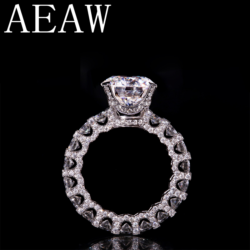 AEAW Luxury 14K White Gold 4ct 10mm Round Cut FG Color Moissanite With Accent Moissanite Eternity Wedding Band