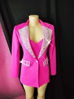 Rose Silver Rhinestones Suit Jacket Bra Short Women's Dance Birthday Outfit Female Singer Evening Show Clothes Set