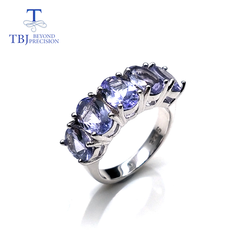 Tanzanite ring natural gemstone oval 5*7mm in 925 sterling silver simple design shiny precious stone jewelry for wife daily wear