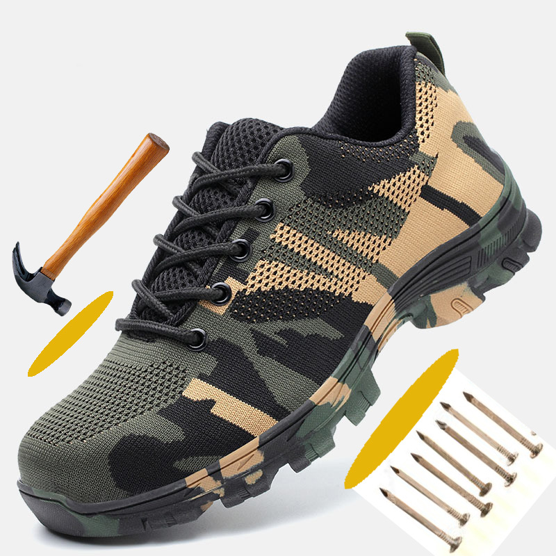 Steel, Shoes, Anti-puncture, Camouflage, For, Men