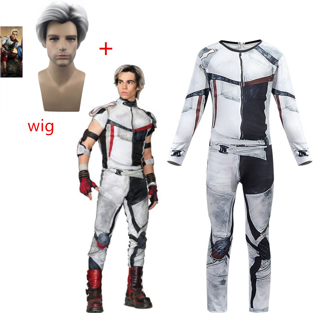 Descendants 3 Carlos Gradient Black Grey Color Synthetic Kid Adult Cosplay Short Wigs+Jumpsuits Halloween Party Costume For Kids
