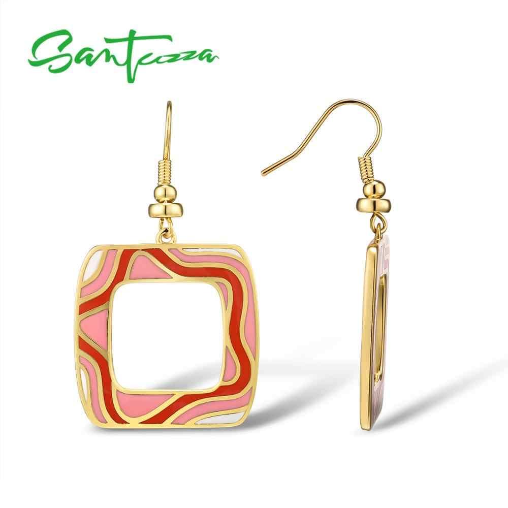 SANTUZZA mosiężne kolczyki dla kobiet żółty złoty kolor różowy i czerwony HANDMADE emalia geometryczne kolczyki Party biżuteria