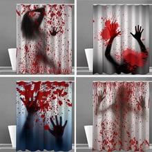Bathroom Scary 3D Horror Bloody Halloween Decoration Waterproof Mold-Proof Shower Curtain Art Deco Household Bathtub Screen