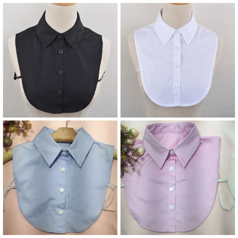 Solid Fake Collar Shirt Women Lady Detachable Collars Women Removable Lapel Solid Hollow Lace Half Shirt Turn Down Collar Tie