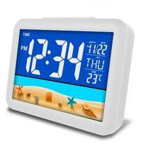 Réveil numérique LCD à LED, avec commande vocale, rétro-éclairage, lumière scintillante, pour chambre d'enfant, Table de bureau