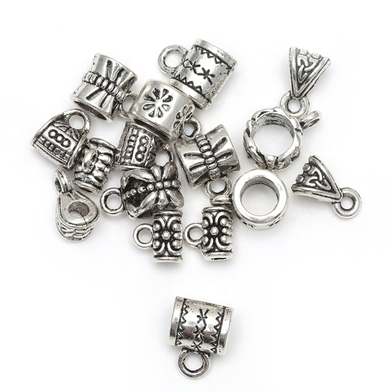 50pcs Antique Tibetan Silver Big Hole European Beads Slide Connector Charms For Jewelry Making Findings Wholesale Accessories