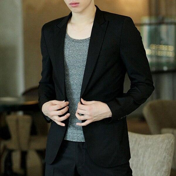 Men Blazer Coat Slim Suit Korean Style Black Casual Business Daily Jackets NGD88