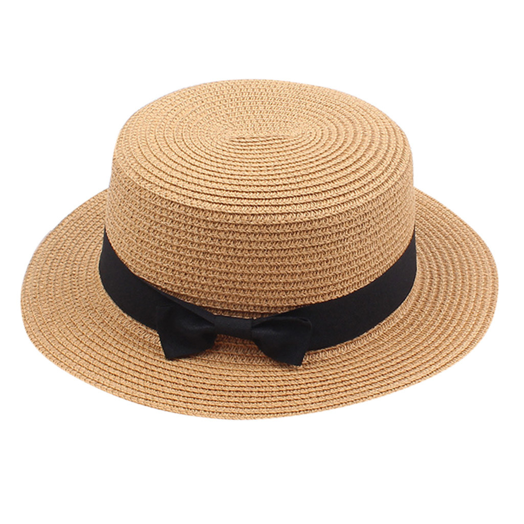 Straw Bow Sunscreen Ladies Hats Holiday Vocation Women's Summer Solid Top Hat Sun Visor Sun Straw Beach Hat Czapka Zimowa