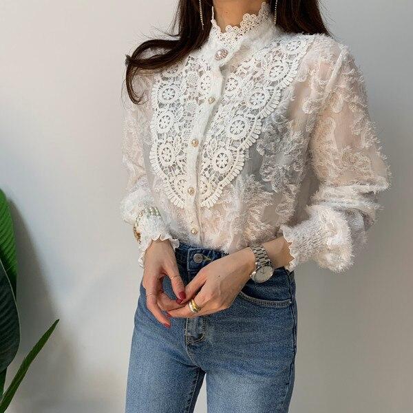 Hcf483bcb8efa4232bb05bc93b9e927fdc - Spring / Autumn Korean Stand Collar Long Sleeves Crochet Lace Button Blouse