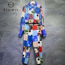 SEQINYY Blue Set Summer Spring New Fashion Design Women Runway High Quality Dobby Shirt + Midi Pants Sicily Plaid Flowers Print