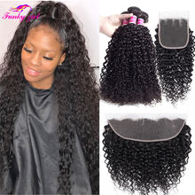 30 Inch Brazilian Curly Hair Bundles 100% Human Hair Bundles With Frontal No Shedding Human Hair Extensions With Closure