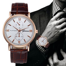 Mens นาฬิกาแฟชั่น Retro ออกแบบหนัง Band Analog Alloy Luxury Reloj Hombre Relogio Masculino(China)