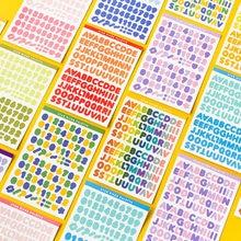 Pegatinas de letras del alfabeto, 6 hojas, autoadhesivas