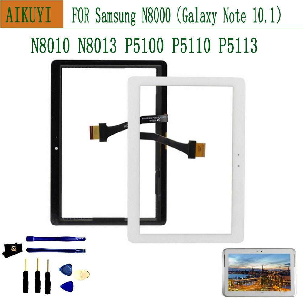Lcd exterior para samsung galaxy tab 2 n8000 p5100 p5110 n8010 n8013 digitador da tela de toque assembléia painel lente vidro frontal