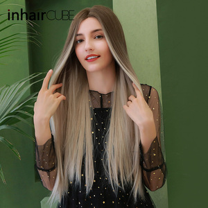 Image 3 - Inhaircube Middle Part Synthetic Wigs For Women Dark Brown Root Long Straight Heat Resistant Cosplay Daily Wig Adjustable Straps