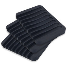3 Pack Silicone Shower Soap Dish Set, Soap Saver Holder, Rectangle Concave Black(China)