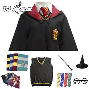 Костюм для косплея Поттера, костюмы халоуина, волшебный халат, накидка, костюм, галстук, шарф, свитер, юбка Гермиона, палочка, очки, подарок, П...
