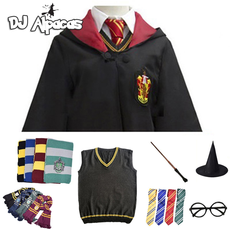 Cosplay Costume Potter Haloween Costumes Magic Robe Cape Suit Tie Scarf Sweater Hermione Skirt Wand Glasses Gift Potter Cosplay