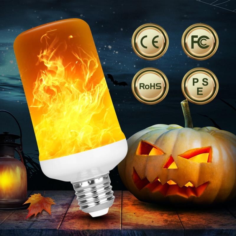 E14 E27 LED Dynamic Flame Light Bulbs Burning Fire Effect Christmas Home Garden Emulation Gravity Decor Lamp