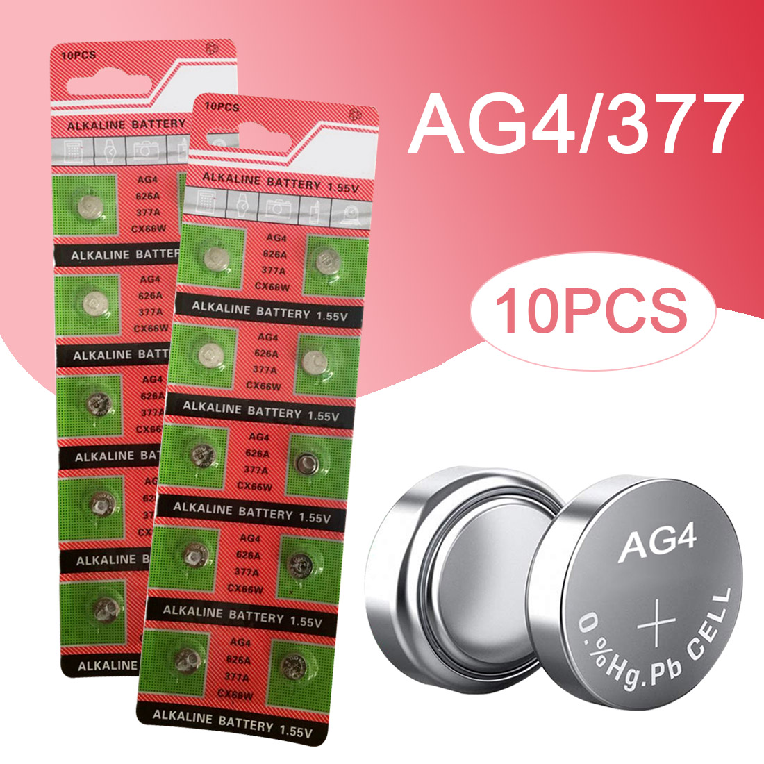 10PCS AG4 Watch Battery 626A 377A CX66W Coin Cell Alkaline Batteries for Toy Calculator Laser Pointer Clock Watch Cameras 1.55V