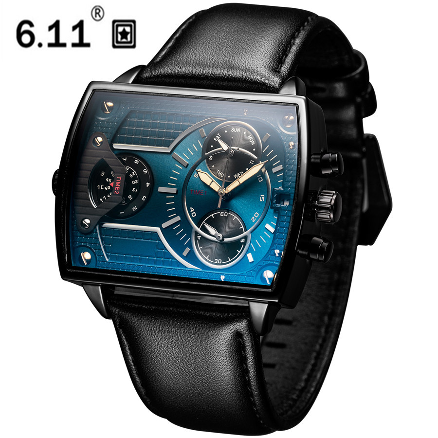 6.11 Leather Men's Fashion Military watch Square Quartz Waterproof Sports Wrist Watches Genuine Leather Blue Casual Reloj Hombre