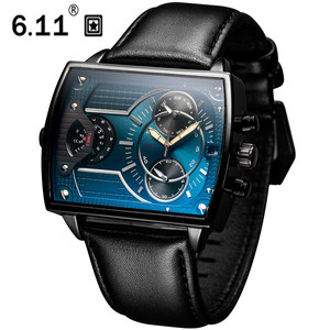 Image 1 - 6.11 Leather Mens Fashion Military watch Square Quartz Waterproof Sports Wrist Watches Genuine Leather Blue Casual Reloj Hombre