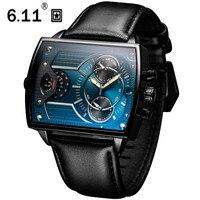 6.11 de couro masculino moda militar relógio quadrado quartzo esportes à prova dwaterproof água relógios pulso couro genuíno azul casual reloj hombre|Relógios de quartzo| |  -