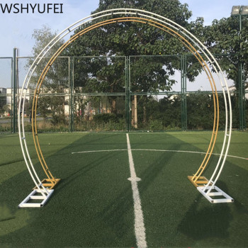 Wedding Arch Party Backdrop Iron Arch Stand Props Double Round Ring Iron Arch Frame Decorative Flower Arch Door Decoration