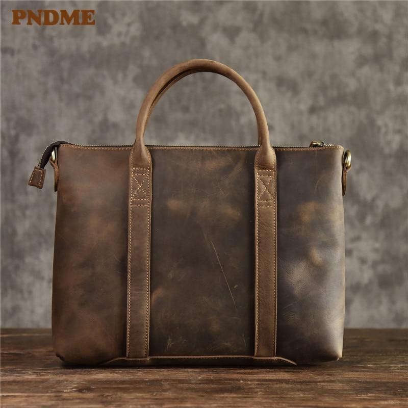 PNDME Fashion Vintage Genuine Leather Men Women's Briefcase Business Handbags Crazy Horse Cowhide Laptop Shoulder Messenger Bag