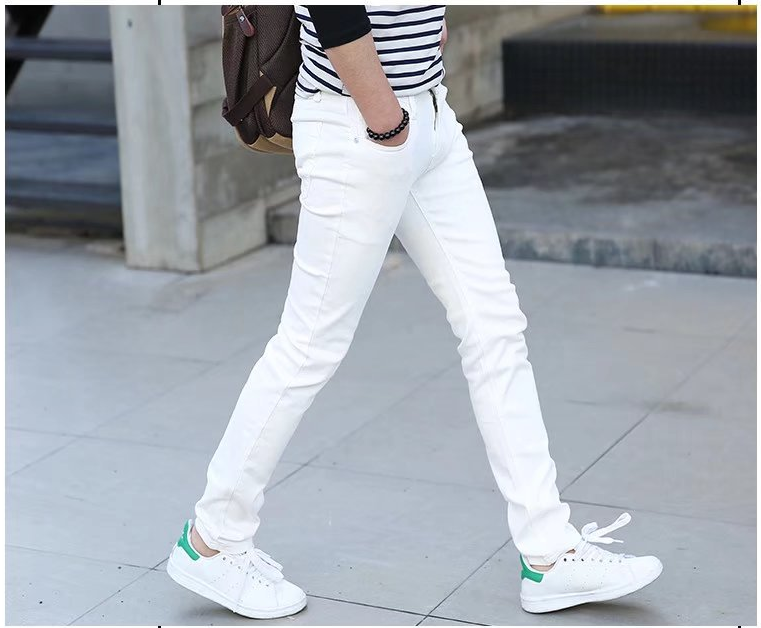 Man Jeans Pure White Elastic Force Youth Thin Section Self-cultivation Bound Feet Pants Trend Leisure Long Trousers