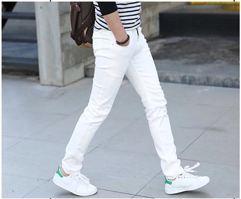 Man Jeans Pure White Elastic Force Youth Thin Section Self-cultivation Bound Feet Pants Trend Leisure Long Trousers man white american flags printed leisure jeans high elastic cultivate morality leisure pentagram red pants