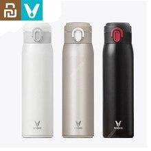 Orijinal Youpin VIOMI paslanmaz çelik vakum 460ml ve 300ml 24 saat şişesi su akıllı şişe termos tek el üzerinde