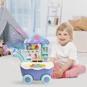 Image 5 - مضحك سوبر ماركت للتسوق التظاهر اللعب المطبخ لعبة للبنات الأطفال ألعاب تعليمية عربة الآيس كريم مع الضوء والموسيقى