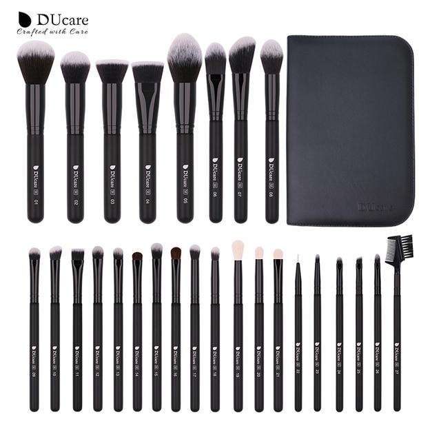 DUcare Make Up Brushes Professional Natural goat hair Makeup Brushes set Foundation Powder Concealer Contour Eyes Blending brush 5