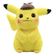 Detective Cute Pikachus Plush Toys Kawaii Dark Lightning Pokemoned Stuffed Doll Christmas Gifts For Children