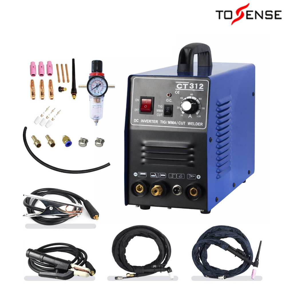 Tosense 220v Dual Voltage 3 In 1 Multifunction Welding Machine TIG ARC Welder Plasma Cutting CT312 With Free Accessory