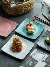 Nordic ceramiczny kwadratowy talerz Sushi deser ciasto przekąska ciasto zachodnie jedzenie makaron stek łosoś Sashimi grillowany skrzydełka kurczaka płyta
