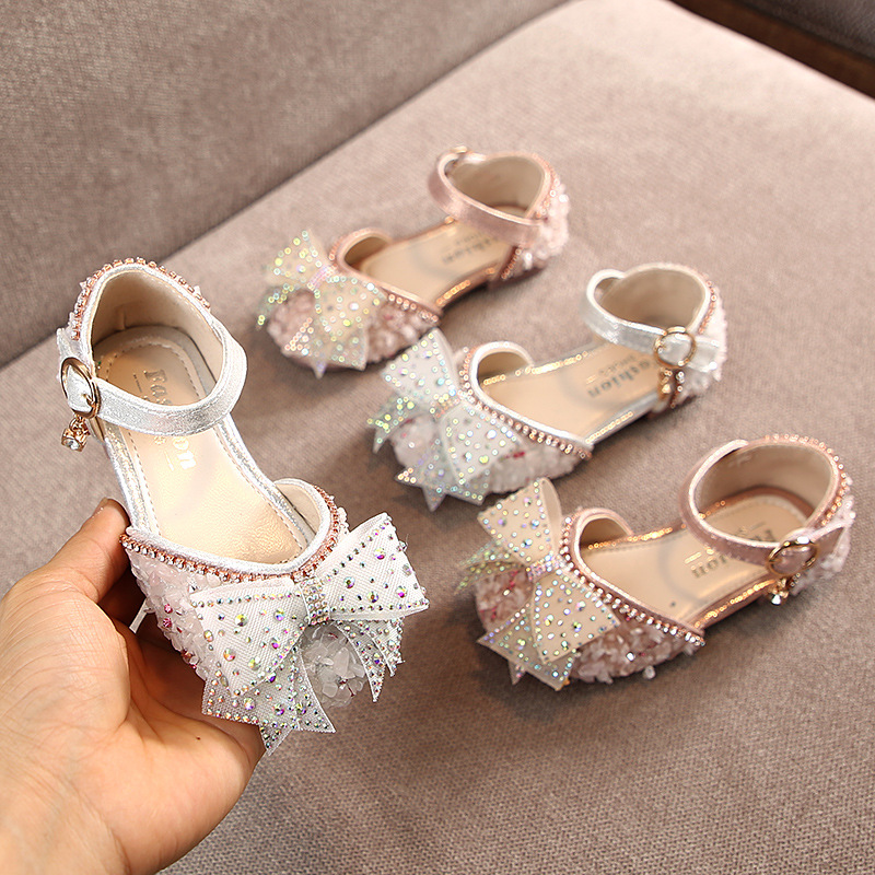 Spring Girls Shoes Rhinestone Bow Princess Leather Shoes Baby Dance Shoes Children's Shoes Girls Sandals|Sandals| |  - title=