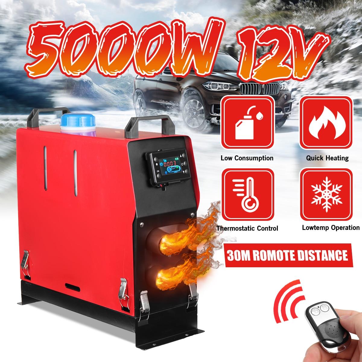 Tudo em um 5000 w ar diesel aquecedor de estacionamento 5kw 12 v aquecedor de carro para caminhões motor-casas barcos ônibus + lcd chave + controle remoto