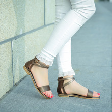 Women Sandals Shoes Flats-Heel Genuine-Leather Fashion Summer Sweet Size-44-45-46 Black