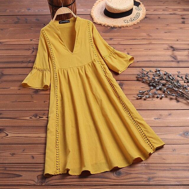 ZANZEA Summer Bohemian Lace Dress 2021 Women's V Neck Flare Sleeve Sundress Female Hollow Patchwork Robe Femme Tunic Vestidos 5