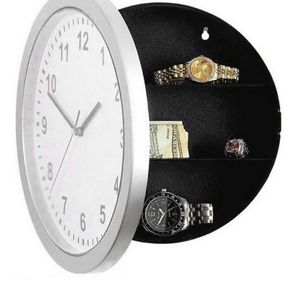 Secret Safe Box Wall Clock Safe Box Wall-Mounted Hanging Key Cash Money Jewelry Storage Security Box Home Decor