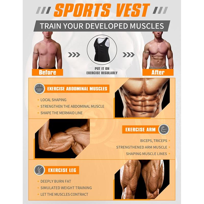 Image 5 - Burvogue Sweat Sauna Body Shaper Men Slimming Vest Thermo Neoprene Waist Trainer Corsets Zipper Shapewear Sauna Suits Tank Top-in Shapers from Underwear & Sleepwears on AliExpress