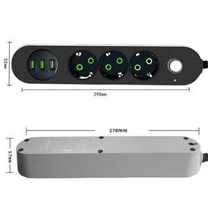 Image 2 - שולחן העבודה שקע חשמל כוח רצועת 10A Surge מגן 2/3M כבל האיחוד האירופי Plug מתאם הארכת 3 AC פלט 3 יציאות USB 250V