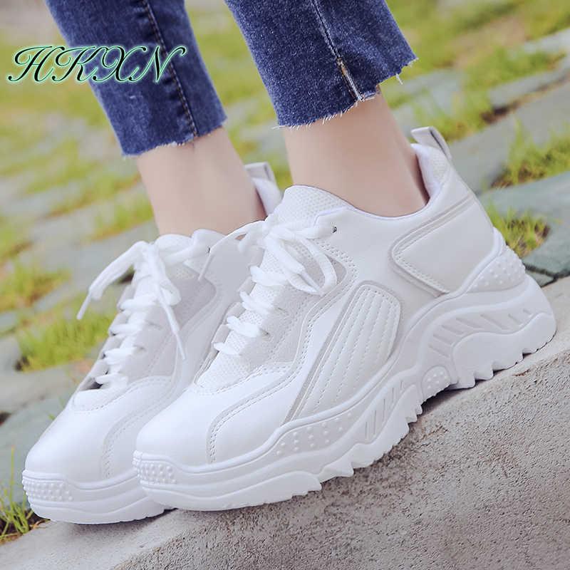 Giày thể thao Nữ 2019 Thời Trang Trắng Giày Thương Hiệu Retro Nền Tảng Giày Lưới Thoáng Khí Bố Chun Giày Thể Thao Ngoài Trời Thường Ngày