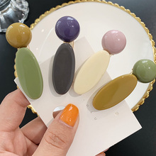Korea Macaron Color Round ellipse Hair Clips Women Acrylic Geometric Lrregular Hit Clip Barrette Accessories
